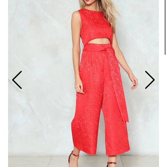 Nasty Gal Pants - Bright Red Cut-Out Jumpsuit